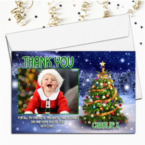 10 Personalised Christmas Xmas Thank you PHOTO Cards N45